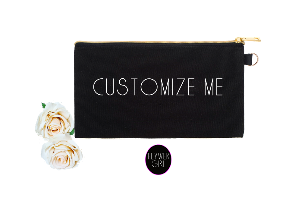 Customizable Makeup Bag. Personalized Cosmetic Bag