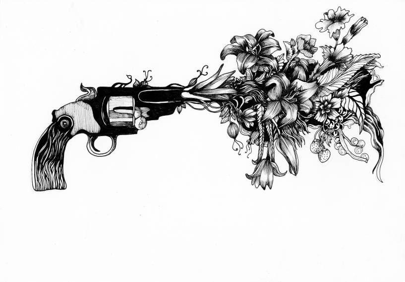 Gun flower bang sketch contrast art design by Julie Hyld