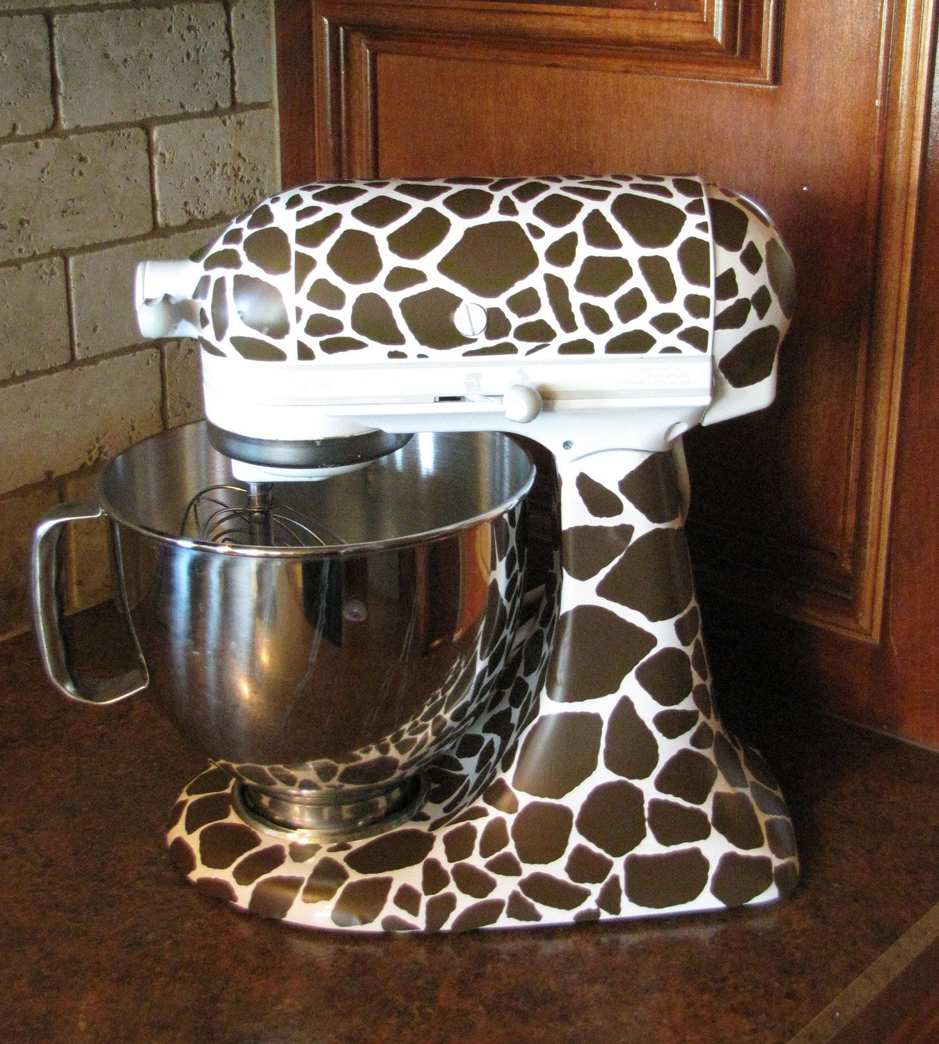 Kitchen Art Mixer: Kitchen Mixer Vinyl Decals-Giraffe Spots. $22.50, Via Etsy