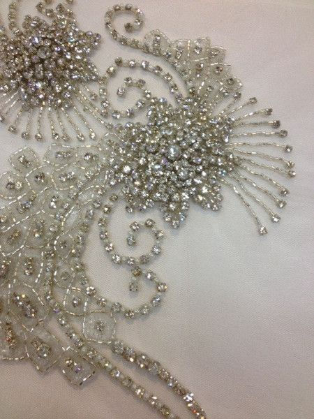 ivory butterfly beaded lace applique bridal sequined lace motif 9cm x 9cm