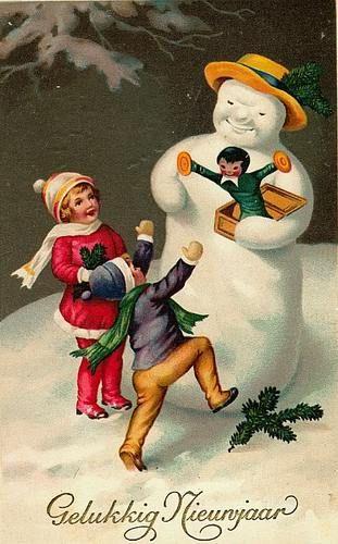 Vintage Christmas Fabric Block Vintage Postcard Snowman