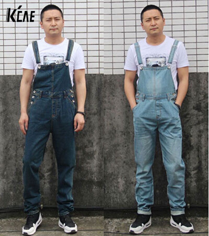 09590fc2a4 New Brand Mens Denim Bib Pants Male Loose Plus Size Casual Jeans Straight  One Piece Long Trousers Suspenders Overalls Jumpsuit