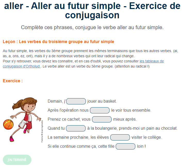 Aller au futur simple - Exercice de conjugaison | Futur simple, Exercices conjugaison, Verbe aller