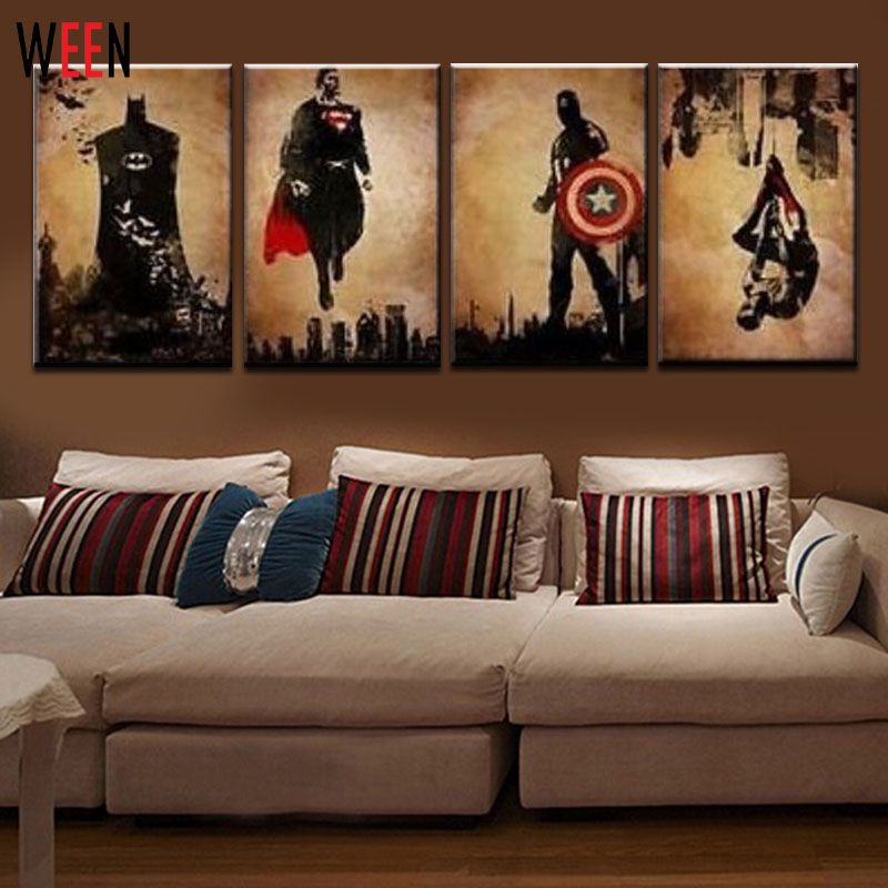 Gentil 4 Pieces Superhero Hand Painted Canvas Oil Paintings Modern Abstract Wall  Decor Art Cuadros Decorativos Canvas