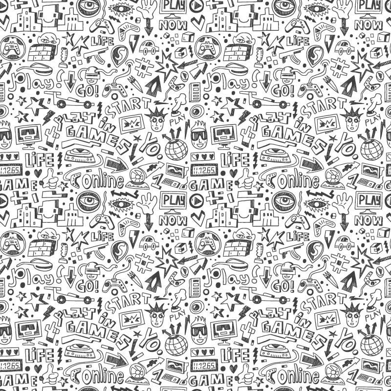Video Game Doodle Wall Mural in 2020 Doodle wall, Murals