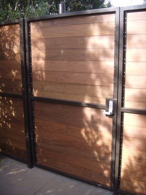 Steel Frame Horizontal Slats Wooden Gates Driveway Fence Design Wooden Gates