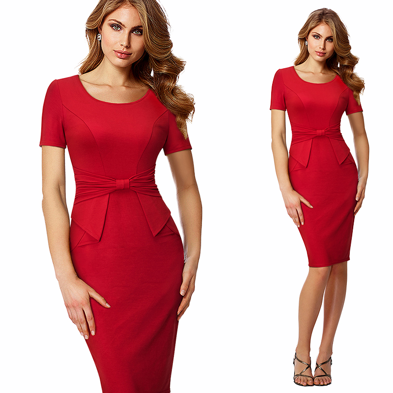 Elegant Women Ruched Drap Wear To Work Office Business Dress Formal Summer Short Sleeve Sheath Fitted Bodycon Pencil Dress HB426 – Ali Explorer 1