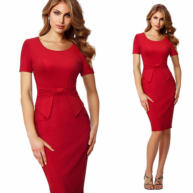 Elegant Women Ruched Drap Wear To Work Office Business Dress Formal Summer Short Sleeve Sheath Fitted Bodycon Pencil Dress HB426 – Ali Explorer 3