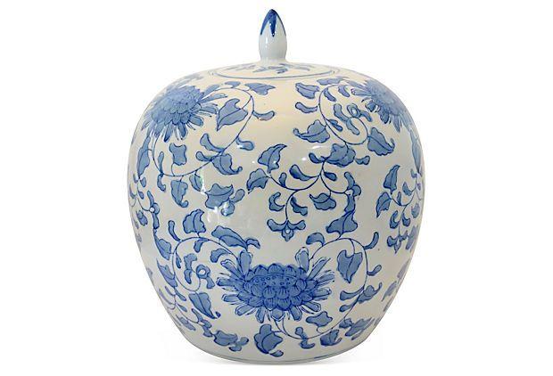 Blue & White Floral Ginger Jar