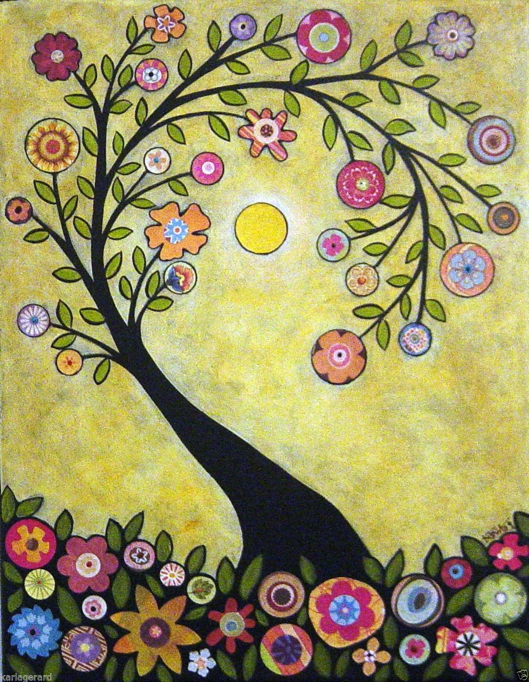 Rug Hook Crafts Paper Pattern Collage Tree Folk Art Abstract ...