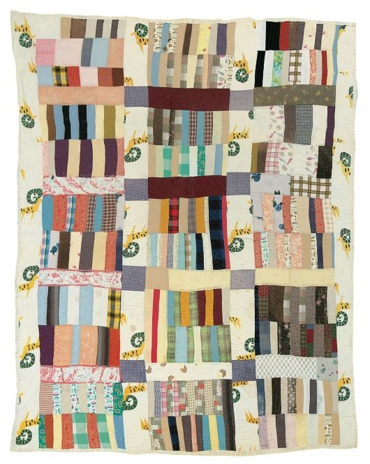 """Nettie Young - """"Stacked Bricks"""" - 1928 Cotton and corduroy 81 x 69 inches"""