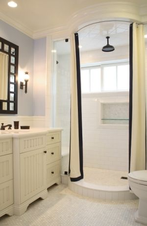 Love The Walk In Shower With Split Shower Curtain Traditional