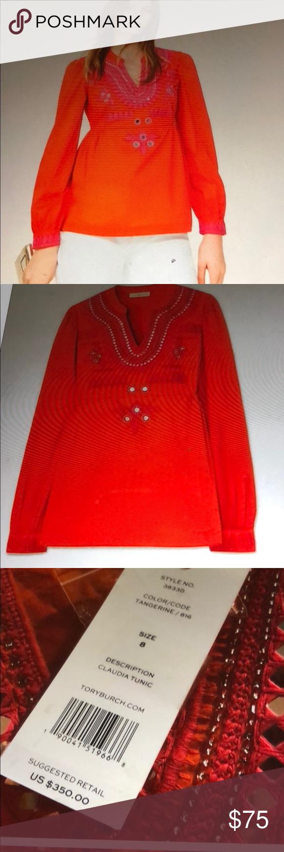 b48b9533199 NWT Tory Burch Claudia Tunic Stunning orange Tory Burch Claudia Tunic.  Features fuschia embroidery, mirrored sequins & a hidden side zipper for a  more ...