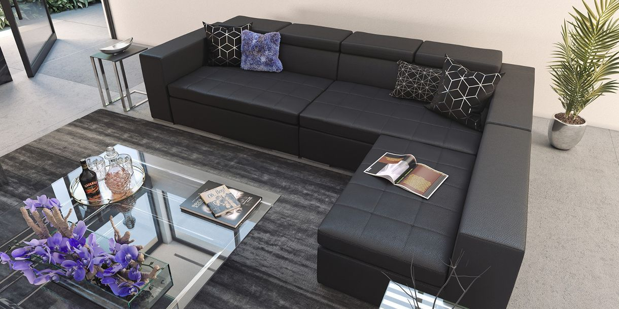 Amazing Monaco Sectional Sofa Black In 2019 Styled By Modani Forskolin Free Trial Chair Design Images Forskolin Free Trialorg