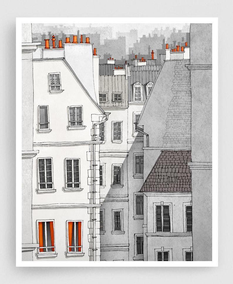 Paris illustration  Rue Sainte Croix  Illustration Giclee   Etsy