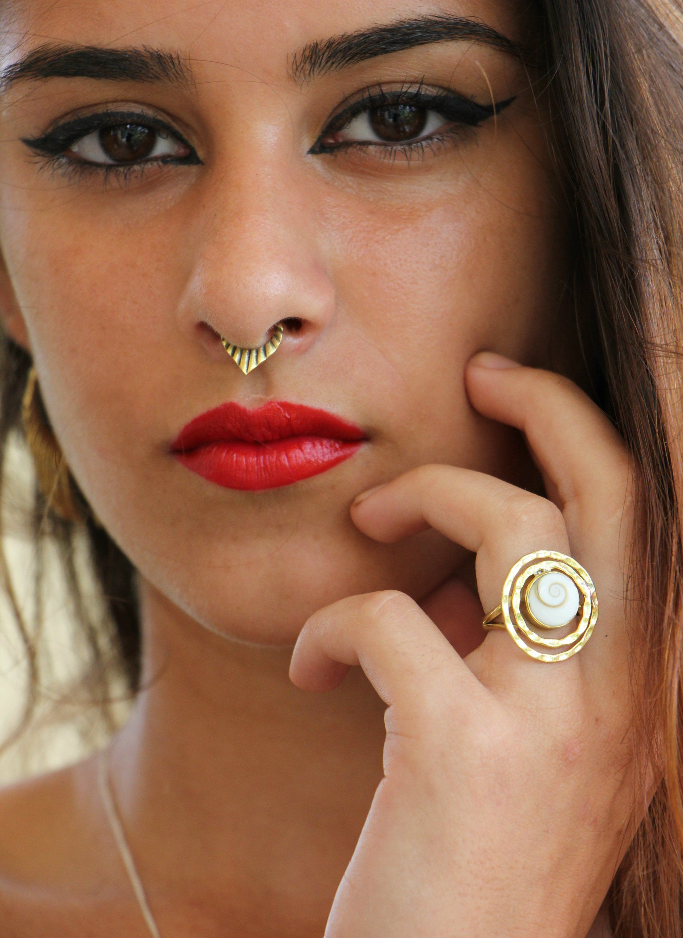Brass Septum Nose Piercing Tribal Bras Septum Ring Cocoroots Jewelry Face Piercings