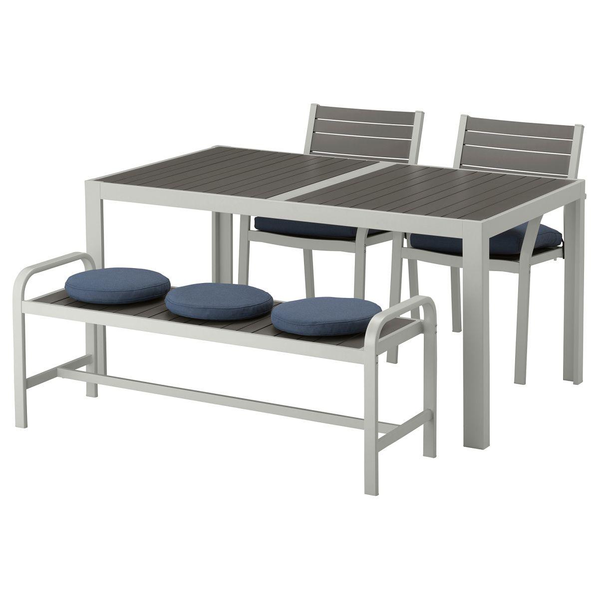 SJÄLLAND, Tisch+2 Stühle+Bank/außen, dunkelgrau, blau Jetzt ...