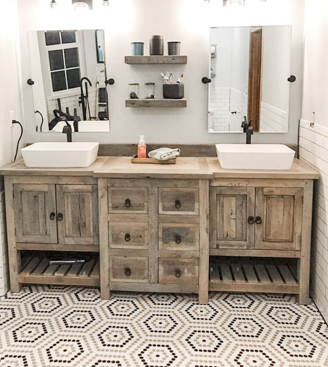 52 Rustic Bathrooms That Will Inspire Your Next Makeover Modern Rustic Bathroom Ideas Rustic In 2020 Rustic Bathroom Vanity Diy Rustic Bathrooms Rustic Bathroom Sinks