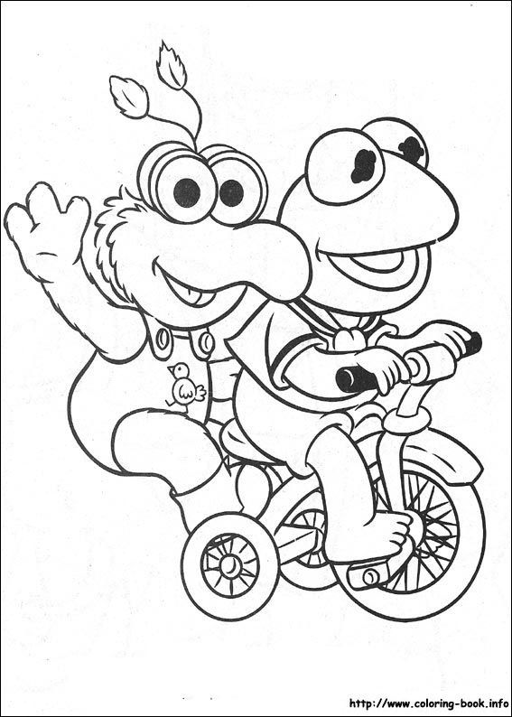 Muppet Babies Kermit And Gonzo Trike Coloring Picture Baby