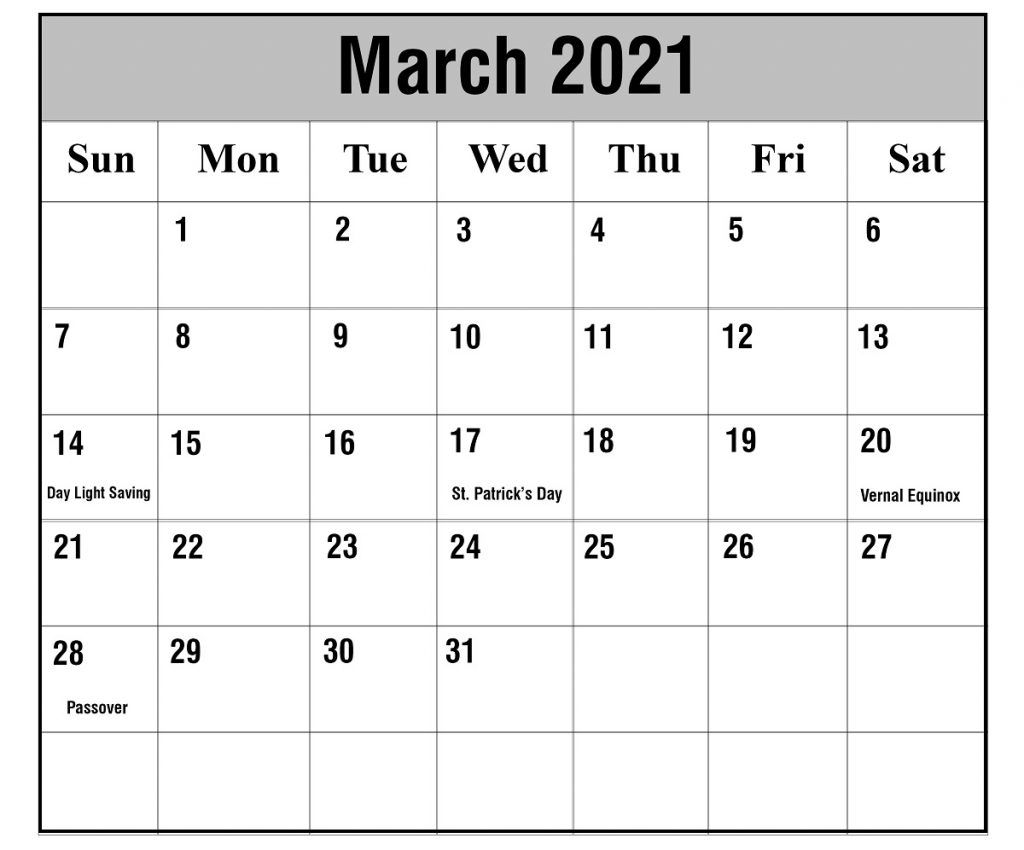 March 2021 Calendar With Holidays In 2020 2021 Calendar Word Template Calendar