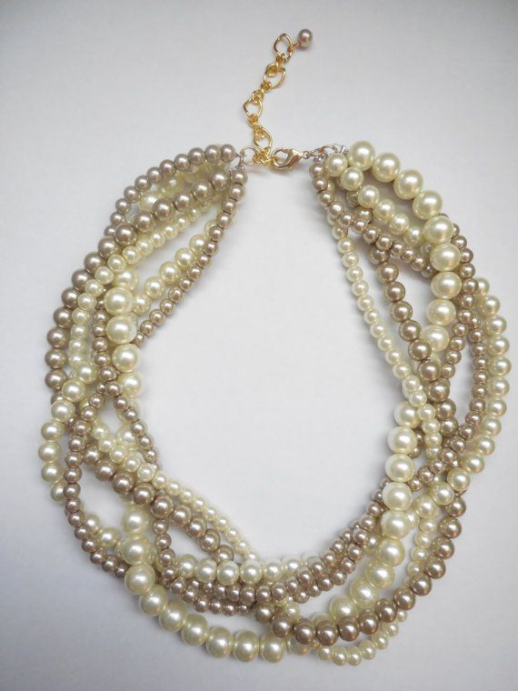 Champagne and ivory braided twisted chunky by WildStoneJewels