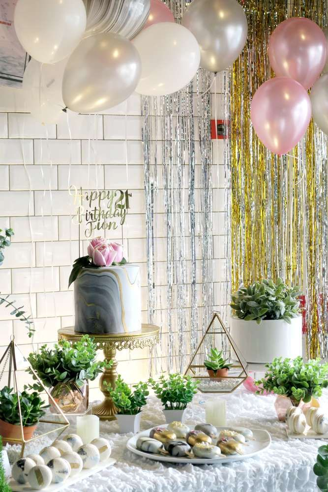 Marble Theme Birthday Party Ideas Birthday party ideas Birthdays