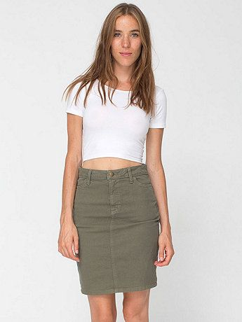 American Apparel - Stretch Bull Denim High-Waist Slim Skirt ...