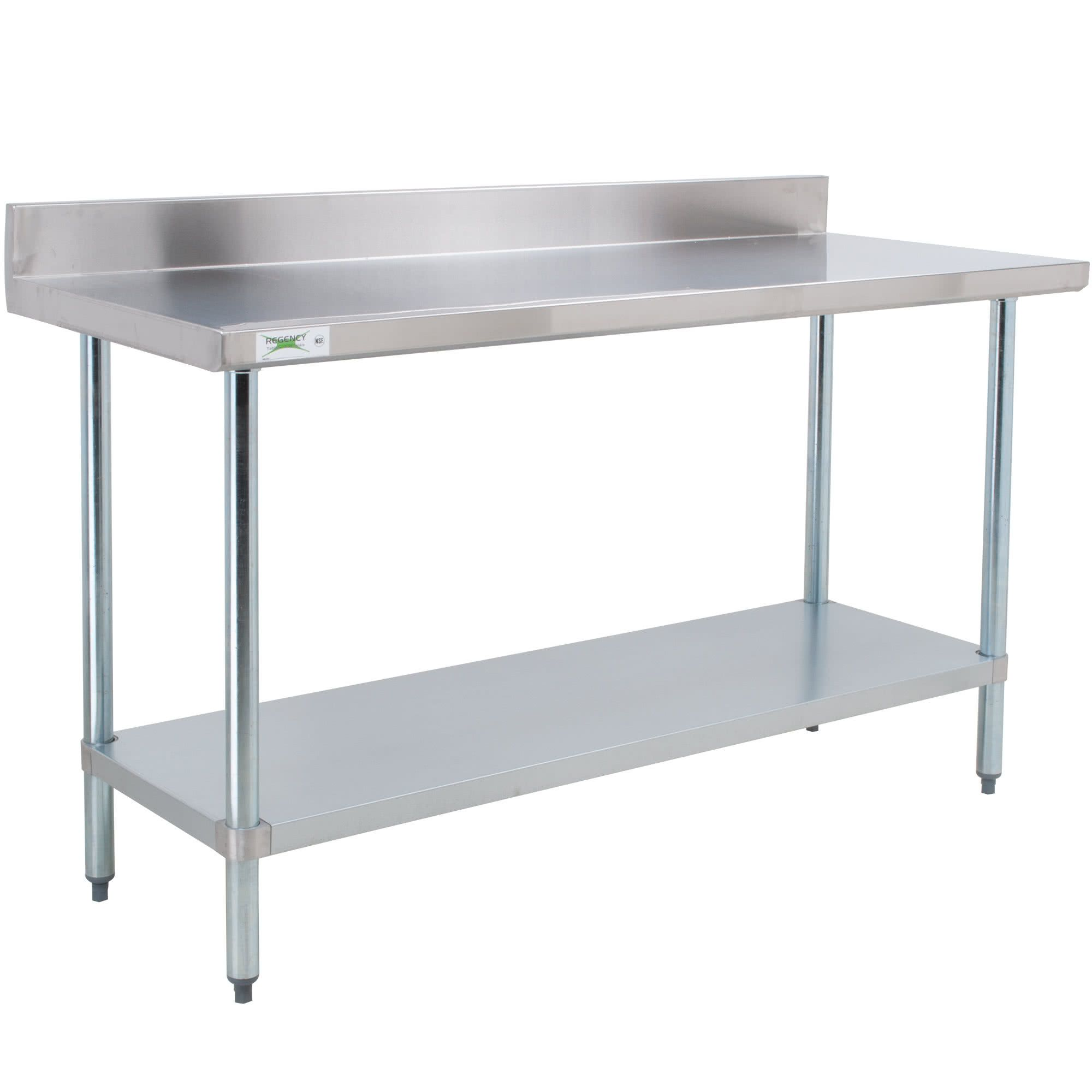 Regency 24 X 60 18 Gauge 304 Stainless Steel Commercial Work Table With 4 Backsplash And Galvanized Undershelf Stainless Steel Work Table Stainless Steel Table Steel Table