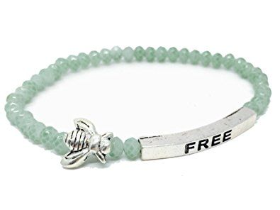 Ble Bee Free Inspirational Quote Bracelet Bead Stacking Stretch Made In Usa Green