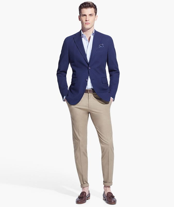 Men s Outfit Inspiration Lookbook - Navy Blazer + Beige Chinos ... e7281f6687