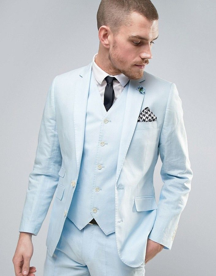 4f7c4c701fe1 Gianni Feraud Wedding 55% Linen Slim Fit Suit Jacket With Floral Lapel Pin