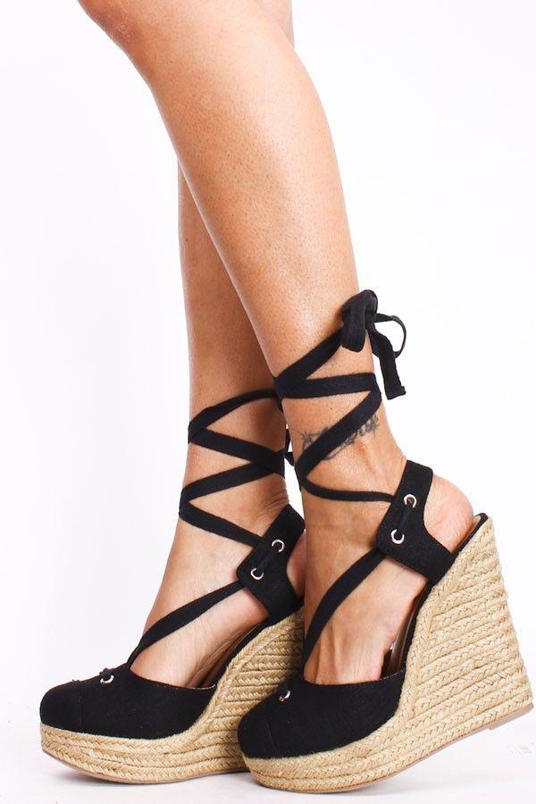 Black Wedge Sandals Black Linen Platform Espadrille
