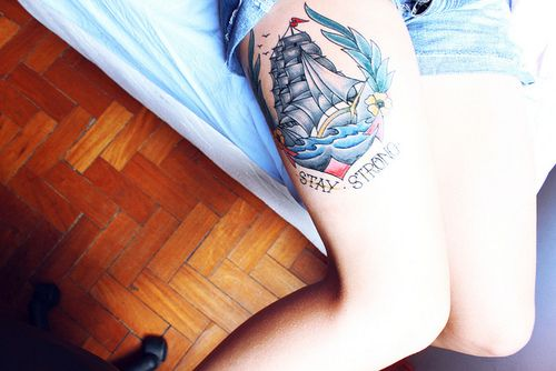 Stay Strong Leg Tattoo  http://tattooideas123.co.uk/wp-content/uploads/2013/12/Stay-Strong-Leg-Tattoo.jpg http://tattooideas123.co.uk/stay-strong-leg-tattoo/ #Legtattoos