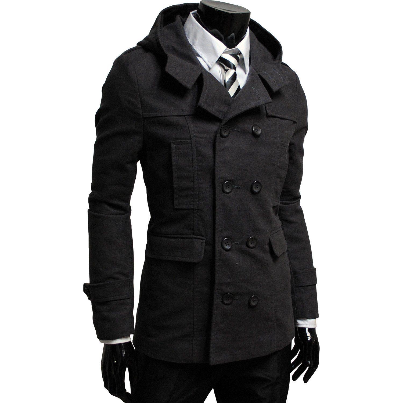 Double Breasted Hooded Trench Coat Trenchcoat Manner Lederjacke Manner Herren Mantel