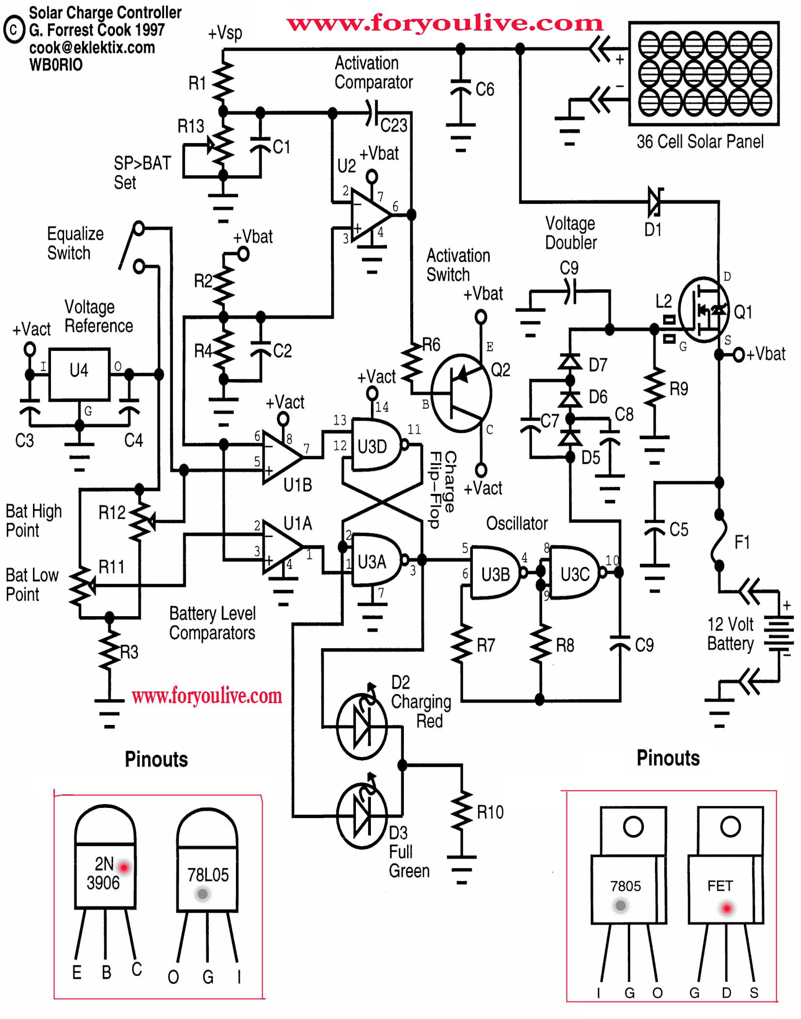 Solar Panel Circuit 5volt Regulate Voltage 2n Is