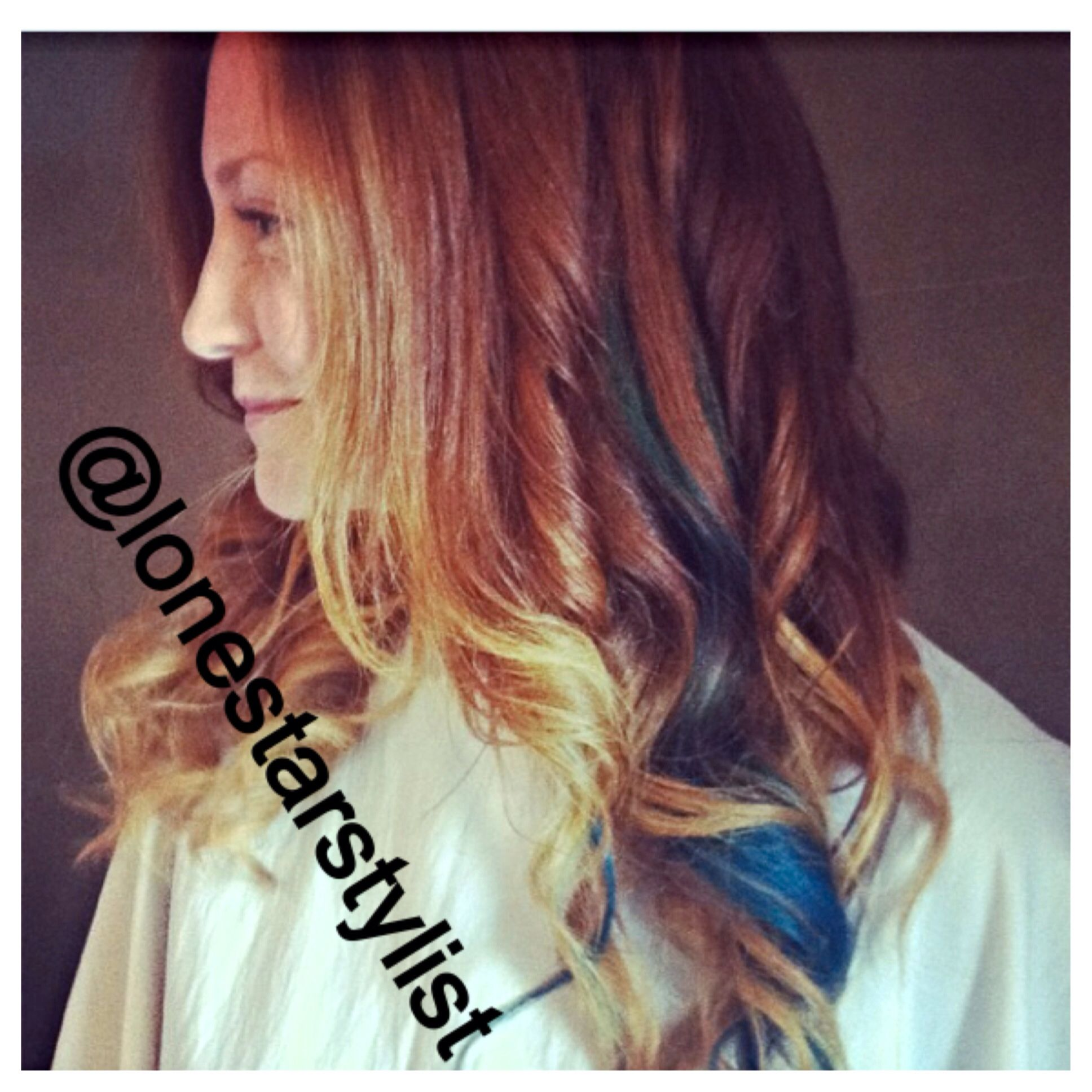 Mermaid Hair Ombre Balayage Highlights On Red Hair With A Multi