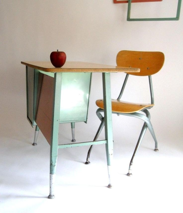 K 4 Retro Mid Century School Desk and Chair Turquoiseteal And