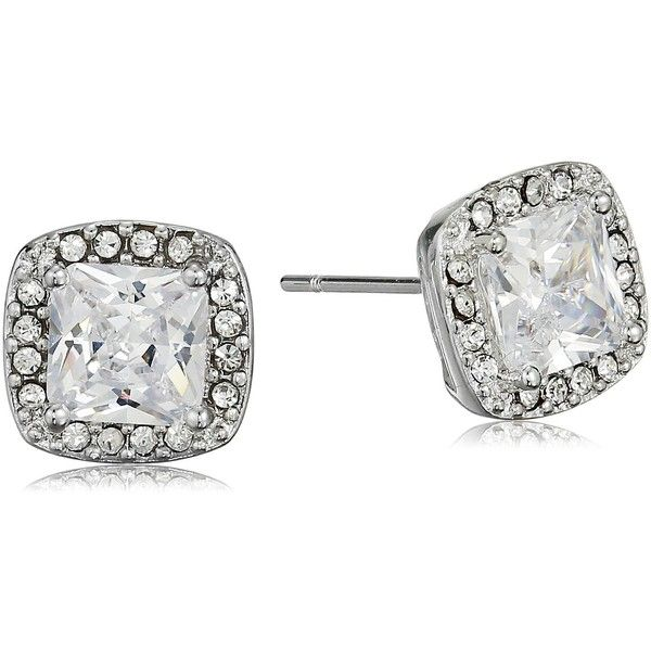 Cara Square Center With Pave Surround Stud Earrings 30 Liked On Polyvore Featuring