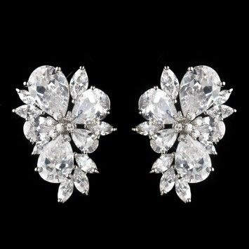 27a123749c3f2c Silver Cz Cluster Earrings | All that Bling Wedding Accessories ...