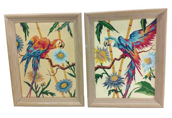 Vintage Parrot Paint by Number Set Tropical by EclecticEmbrace