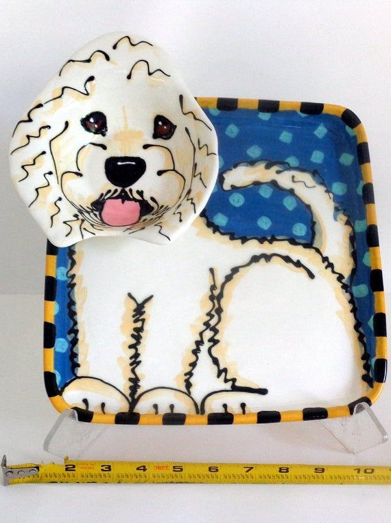 Golden Doodle Dog Pottery Chip and Dip PlateMade to Order  Products