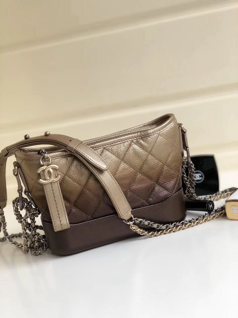 0be675ddfd89 Chanel Two-tone Grained Calfskin Gabrielle Small Hobo Bag A91810 Gold/Black  2018