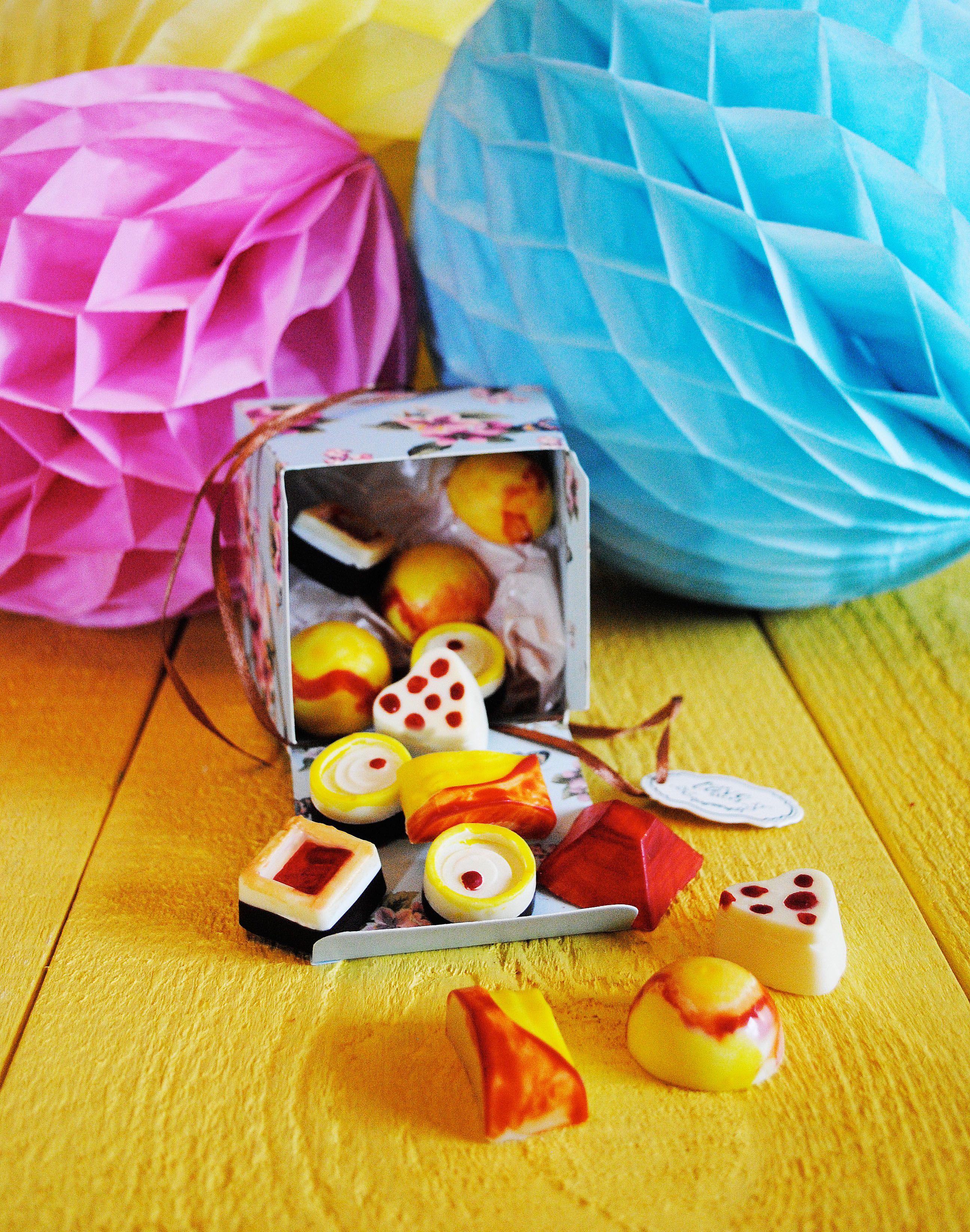 handmade truffle chocolates decorated with edible