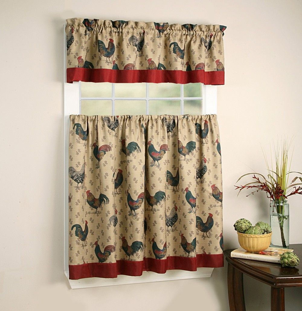 Rooster Themed Kitchen Curtains And Valances Sets