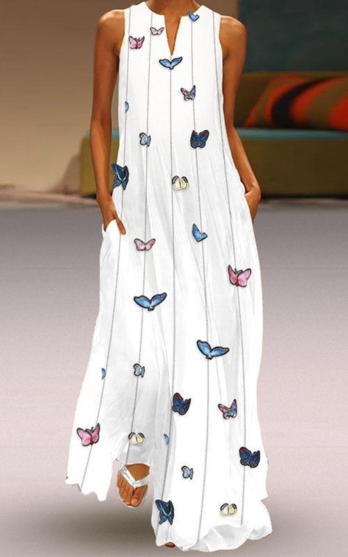 Boho White Maxi Dress with Butterflies 🦋 #whitemaxidress #BohoSummerDress #Ca…