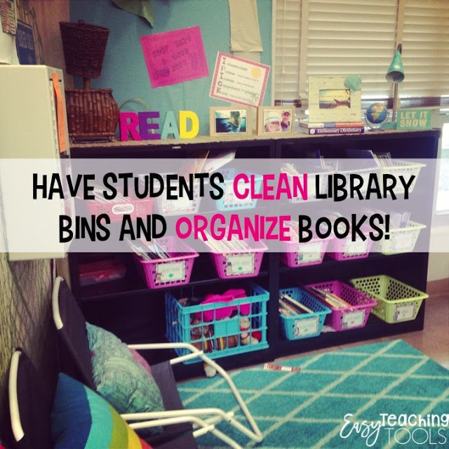 I get a little crazy and have them wipe down the shelves with cleaning wipes as well. I also have students organize the books, make sure they're in the correct lexiled bin and all of the spines are facing out.