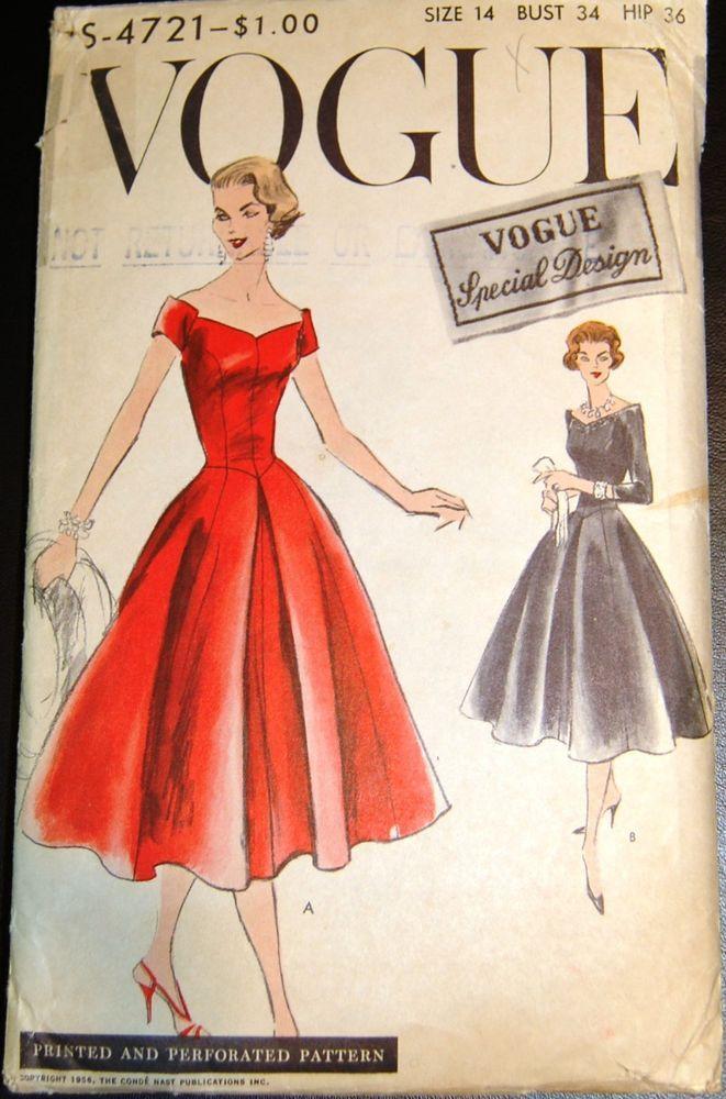 ec6869778356 Vintage Original Vogue Special Design 50's Dress Pattern #S-4721 Misses  Dress Size 14/34