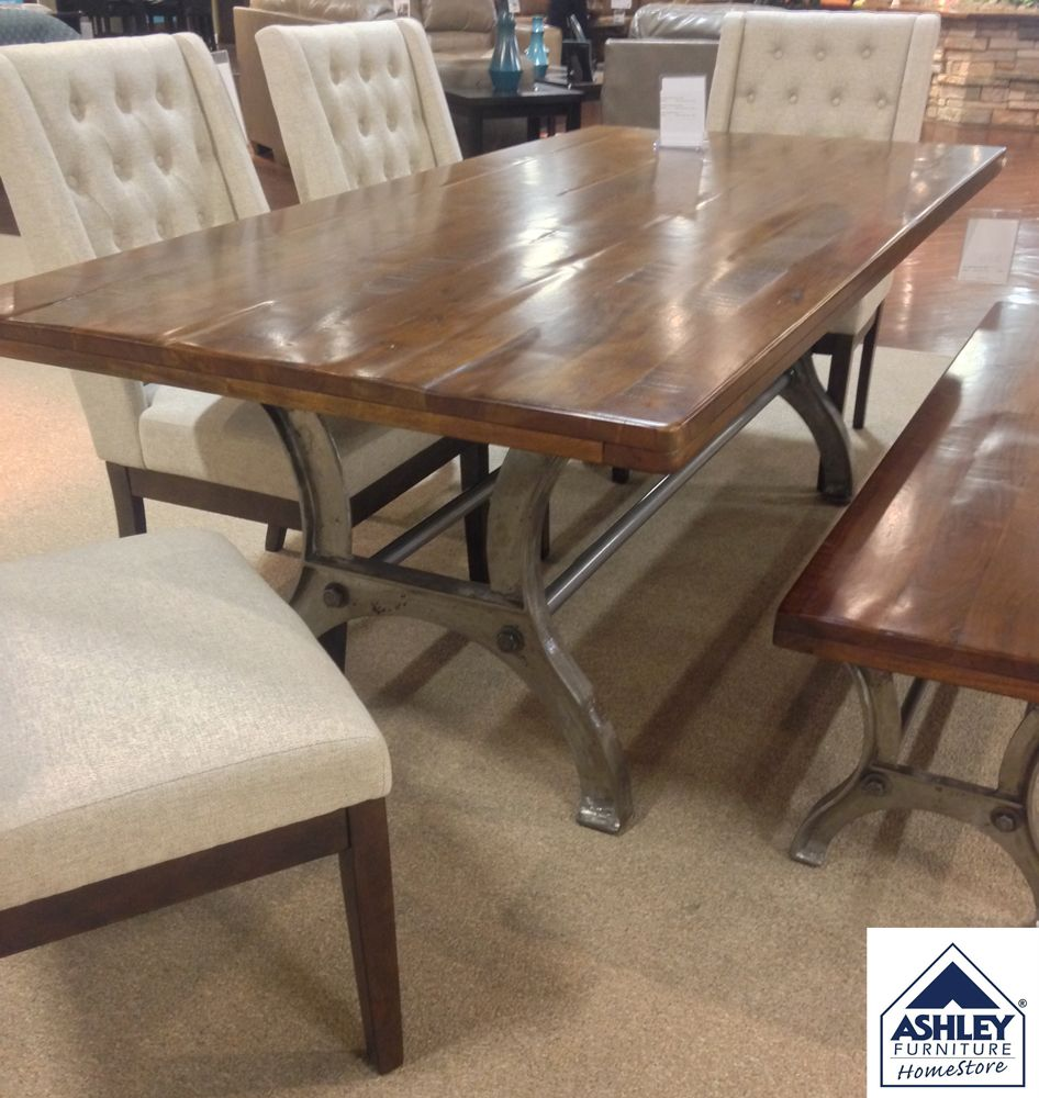 Ranimar Dining Room Table Thick Plank Tabletop Crafted Of Solid