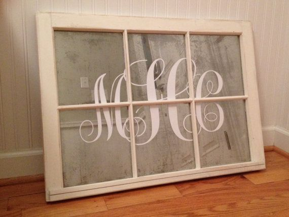 Window Frame Wall Art reclaimed vintage antique mirrored 6 pane monogrammed window ~ off