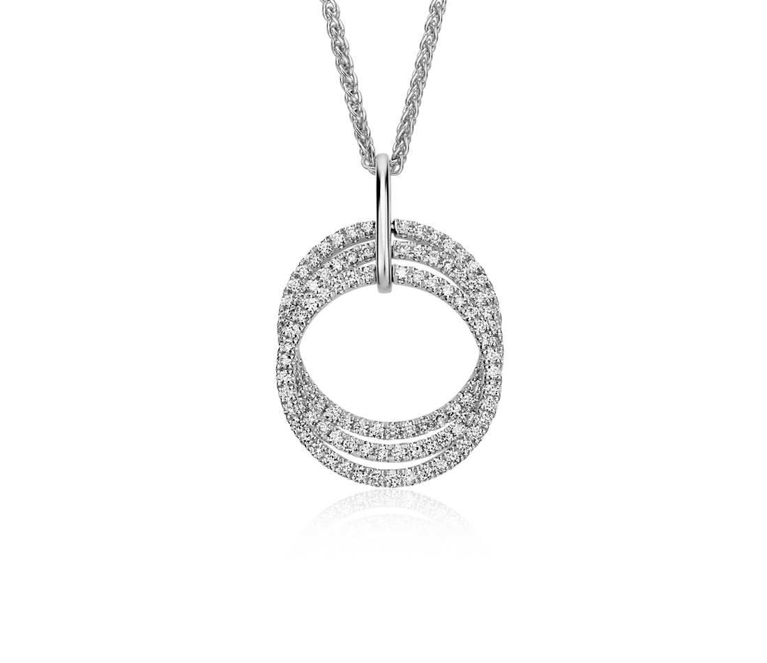 Trio circle diamond pendant in k white gold ct tw wish